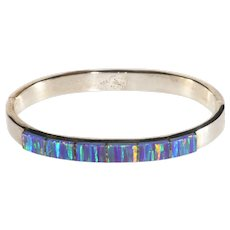 Mexican Silver Bracelet Faux Opal Hinged Bangle Sterling Small Wrist