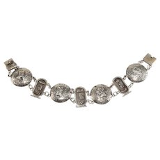 Egyptian Bracelet 800 Silver Medallions Hieroglyphics Vintage 8 Inches