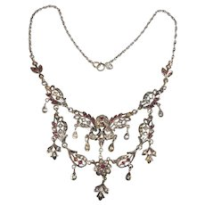 Festoon Necklace Sterling Silver Red and Clear Rhinestones Vintage