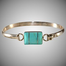 Mexican Sterling Silver Turquoise Colored Stone Bracelet Mexico