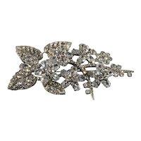 Siman Tu Brooch CZ Clear Rhinestones Crystals Flower Floral Spray Pin