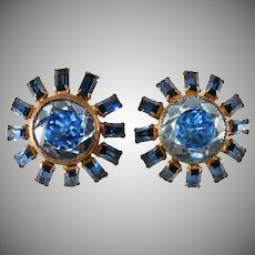 Sterling Gold Washed Earrings with Blue Two Tone Rhinestones Vintage