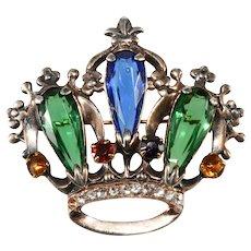 Sterling Silver Jewel Tone Crown Brooch Pin Vintage 1940s