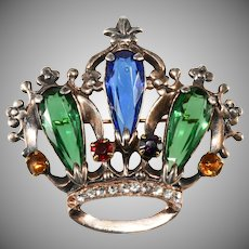 Sterling Silver Jewel Tone Crown Brooch Pin Vintage 1940s