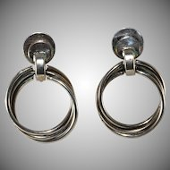 Sterling Silver Dangle Hoop Earrings Vintage