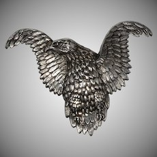 LARGE Eagle Brooch Sterling Silver Pin Vintage 1940s