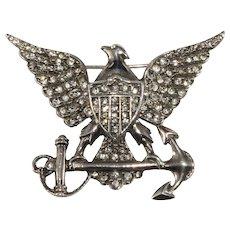 Sterling Silver Brooch American Eagle Rhinestones Vintage Anchor