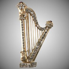 1940s Sterling Silver Classical Harp Brooch Pin Vintage Musical Instrument