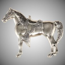 Sterling Silver Horse Brooch Pin Western Show Vintage