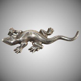 Sterling Silver Lizard Brooch Pin Vintage