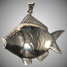 Sterling Silver Puffy Fish 2 Inch Pendant for Necklace