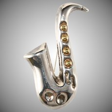 Mexican Silver Saxophone Brooch Pin Sterling Musical Instrument