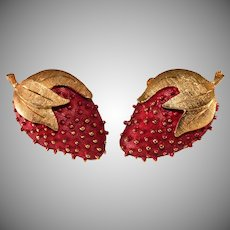 Strawberry Red Enameled and Gold Plated Earrings Vintage Fruit