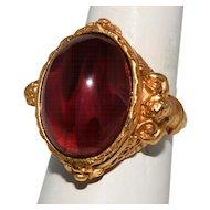 Elizabeth Taylor 1994 Gilded Age Ruby Cherub Ring Size 8