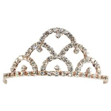 Tiara Hair Comb Clear Rhinestones Bridal Prom Accessory Jewelry