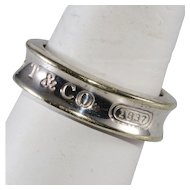 Tiffany & Co. Sterling Silver Band Ring with Dust Bag
