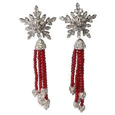 Todd Anthony 5 Inch Star Red Bead Rhinestone Dangle Earrings