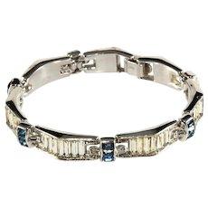 Trifari Bracelet Blue Clear Baguette Rhinestones Vintage