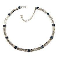 Trifari Necklace Baguette Rhinestones Blue Clear Vintage