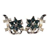 Trifari Earrings Blue Clear Rhinestones Vintage