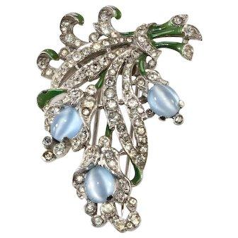 Trifari Blue Moonglow Glass Pin Fur Clip Brooch Patented 1940