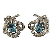 Trifari Earrings Sterling Silver Blue Clear Rhinestones Vintage 1930s