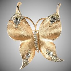 Trifari LARGE Brushed Gold Butterfly Brooch Clear Rhinestones