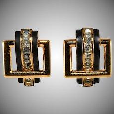 Trifari Buckle Door Knocker Rhinestone and Enamel Earrings