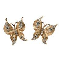Trifari Earrings Butterfly Clear Rhinestones Brushed Gold Plating Butterflies Vintage