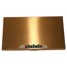 Trifari Moghul Jewels of India Compact Style Cigarette or Calling Card Case 1940s