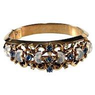 Trifari Clair de Lune Bracelet Blue Rhinestone Glass Moonstone Vintage 1950