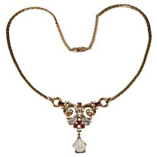 Trifari Clair de Lune Necklace Red Rhinestone Glass Moonstone Vintage 1950