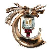 Trifari Brooch Fur Pin Clip Blue Red Clear Rhinestones Sterling Silver Vintage