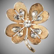 Trifari Four Leaf Clover Rhinestone Brooch Pin Vintage 1960s