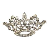 Trifari Crown Pin Brooch Clear Rhinestones Vintage