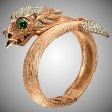 Trifari Dragon Hinged Clamper Bracelet Something Wild Collection 1960s