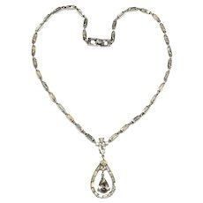 Trifari Necklace Pear Rhinestone Drop Baguettes Vintage