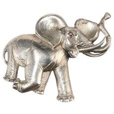 Trifari 1930s Elephant Fur Clip Pin Brooch Vintage
