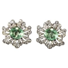Trifari Empress Eugenie Pastel Green and Clear Rhinestone Earrings