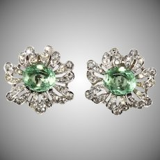 Trifari Empress Eugenie Pastel Green and Clear Rhinestone Earrings