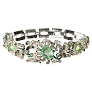 Trifari Empress Eugenie Pastel Green and Clear Rhinestone Bracelet