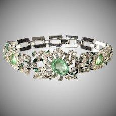Trifari Empress Eugenie Pastel Green and Clear Rhinestone Bracelet