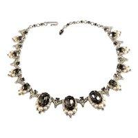 Trifari Necklace Gray Rhinestones Faux Pearls Vintage