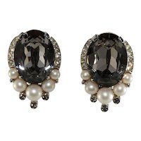 Trifari Earrings Gray Black Diamond Rhinestones Faux Pearls Vintage