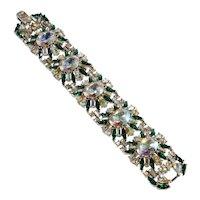 Trifari Bracelet WIDE Green Rhinestones Iridescent Vintage