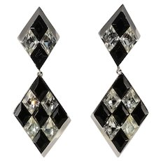 Trifari Harlequin Pattern Black and Clear Rhinestones Dangle Earrings