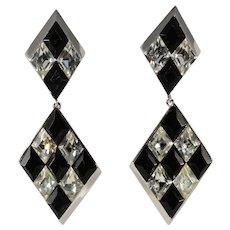 Trifari Harlequin Pattern Black and Clear Rhinestones Dangle Earrings