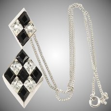 Trifari Harlequin Pattern Black and Clear Rhinestones Pendant Necklace
