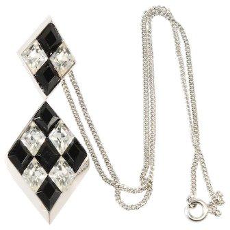 Trifari Harlequin Pattern Black and Clear Rhinestones Pendant Necklace