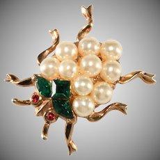Trifari Ladybug Faux Pearl Rhinestones Insect Bug Pin Brooch